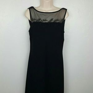 Evan-Picone little black midi dress embroider